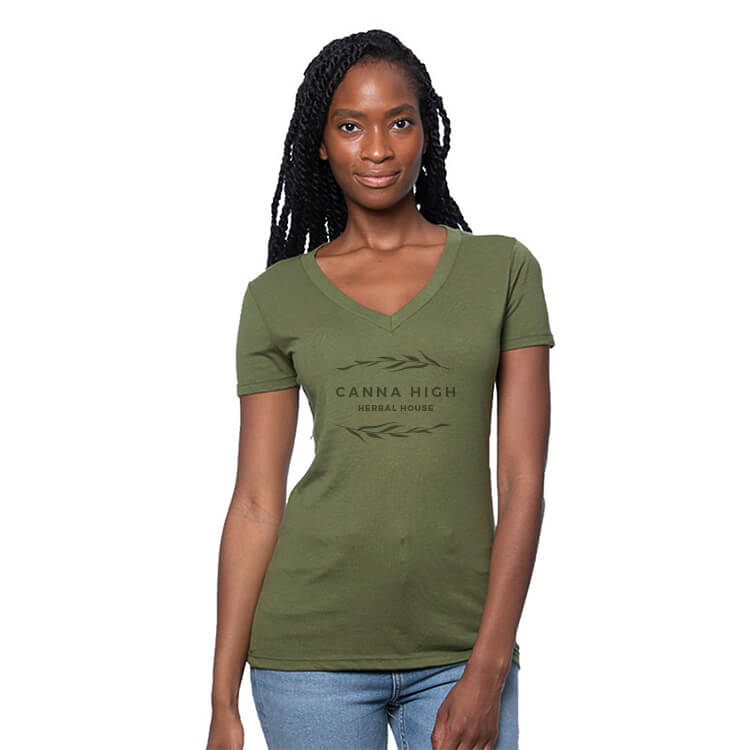 green women hemp v-neck shirt with logo