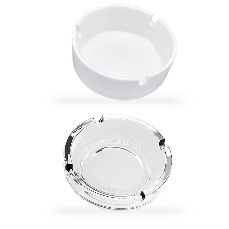 glass and opaque ashtrays
