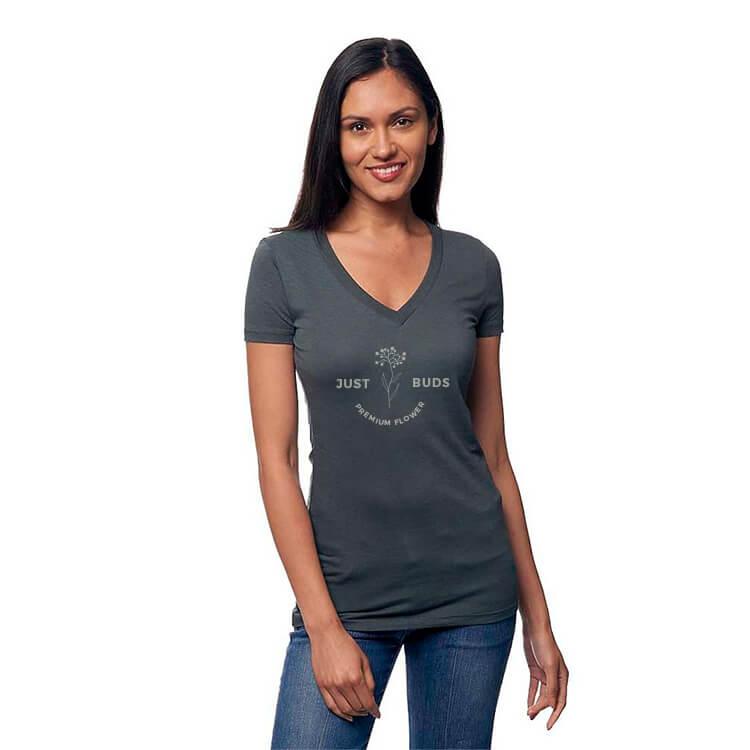 hemp and organic cotton v-neck shirt with logo
