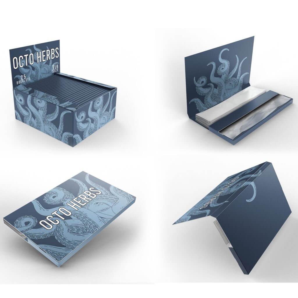 1 1/4 rolling papers booklets and box with logo