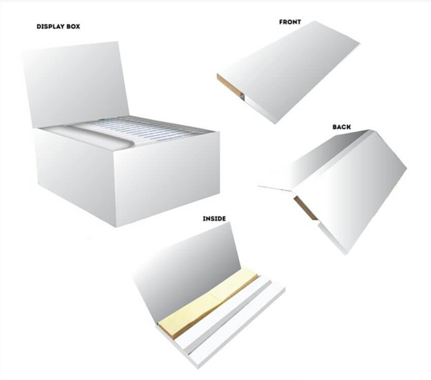 Blank mockup of king size booklets and box