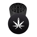 Marijuana 4 piece metal black grinder
