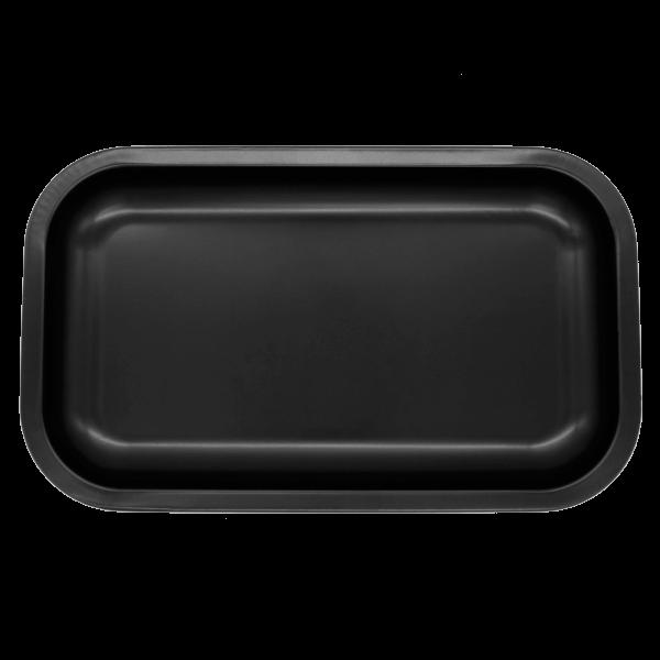 black thick metal tin tray