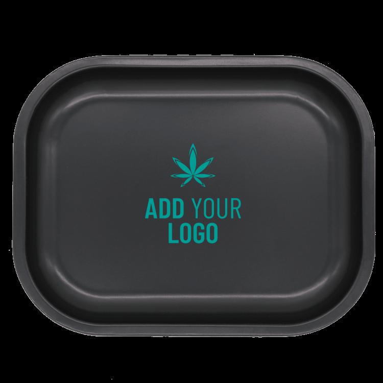 marijuana rolling tray with logo