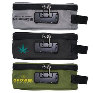 Custom smell proof stash carrying cases with combination lock