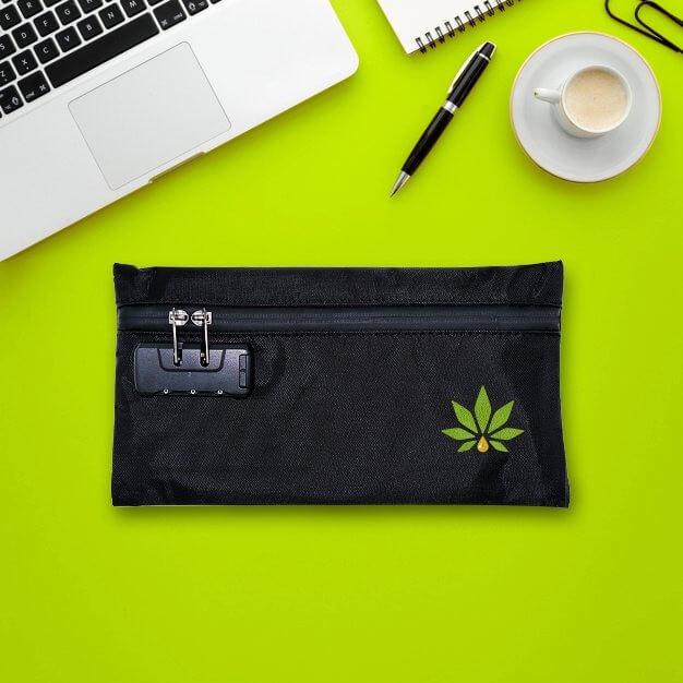 smell proof stash bag with logo