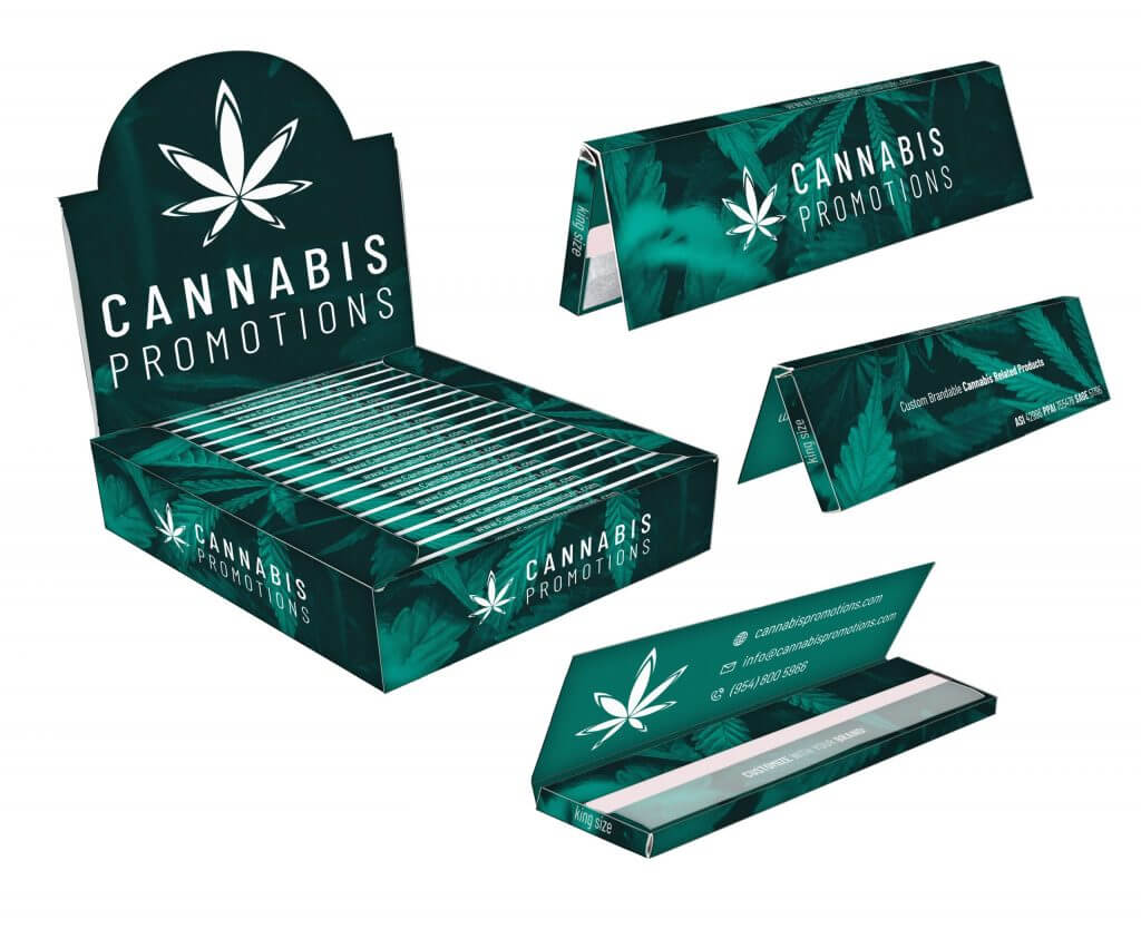 King size rolling papers box and booklets with logo