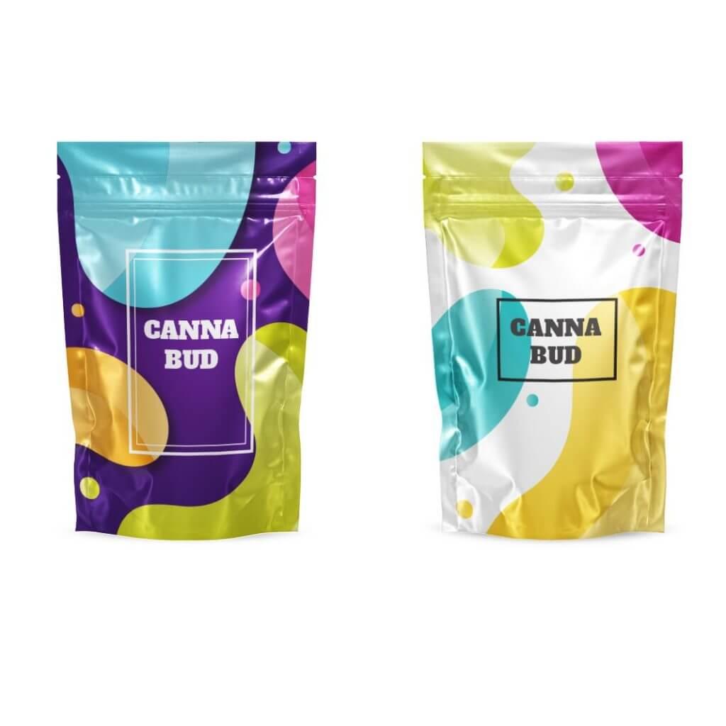 Eighth Ounce mylar barrier bags with logo