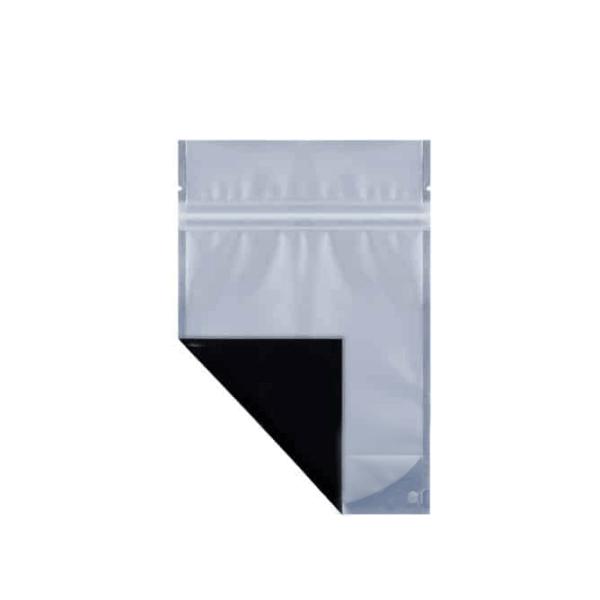 Black eighth ounce cannabis mylar barrier bag