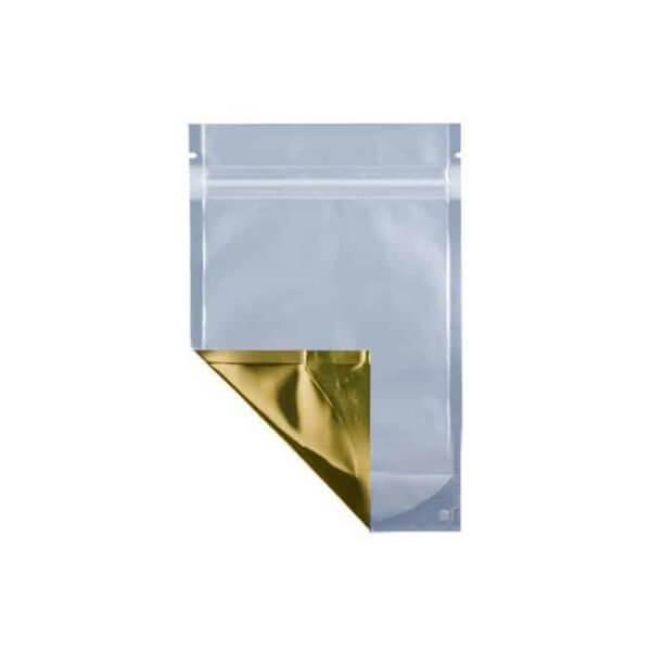 Gold eighth ounce cannabis mylar barrier bag