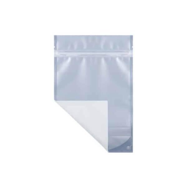 White eighth ounce marijuana mylar barrier bag