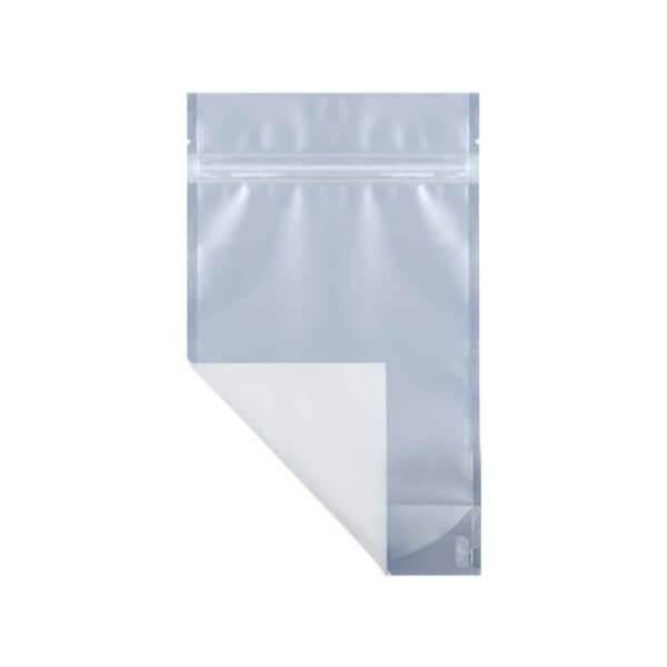 White quarter ounce marijuana mylar barrier bag