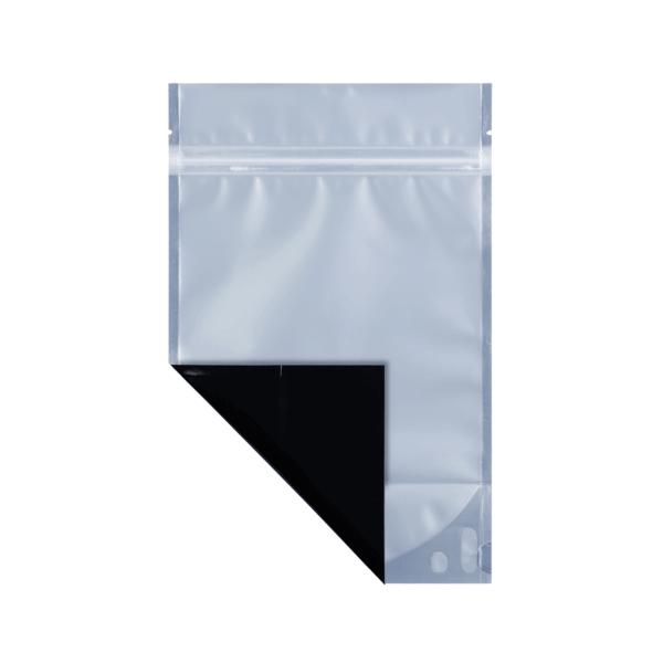Black half ounce cannabis mylar barrier bag