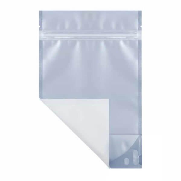 White half ounce marijuana mylar barrier bag