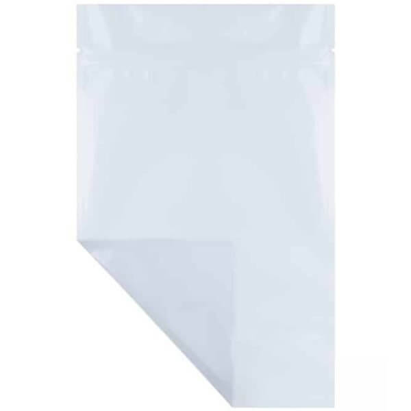 Blank white opaque ounce mylar weed barrier bag