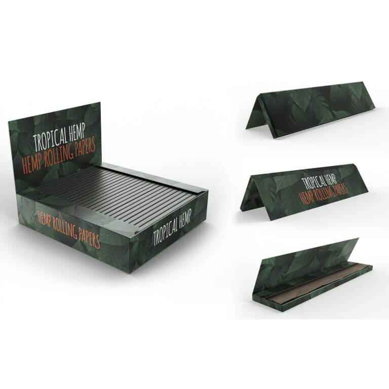 brown king size rolling papers booklets and box with logo