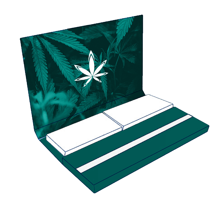 booklet of king size rolling papers with tips and logo