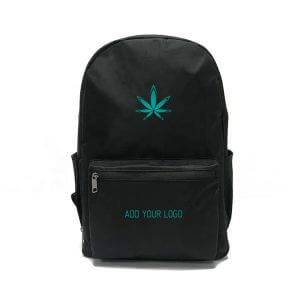 smell proof backpack with two logos