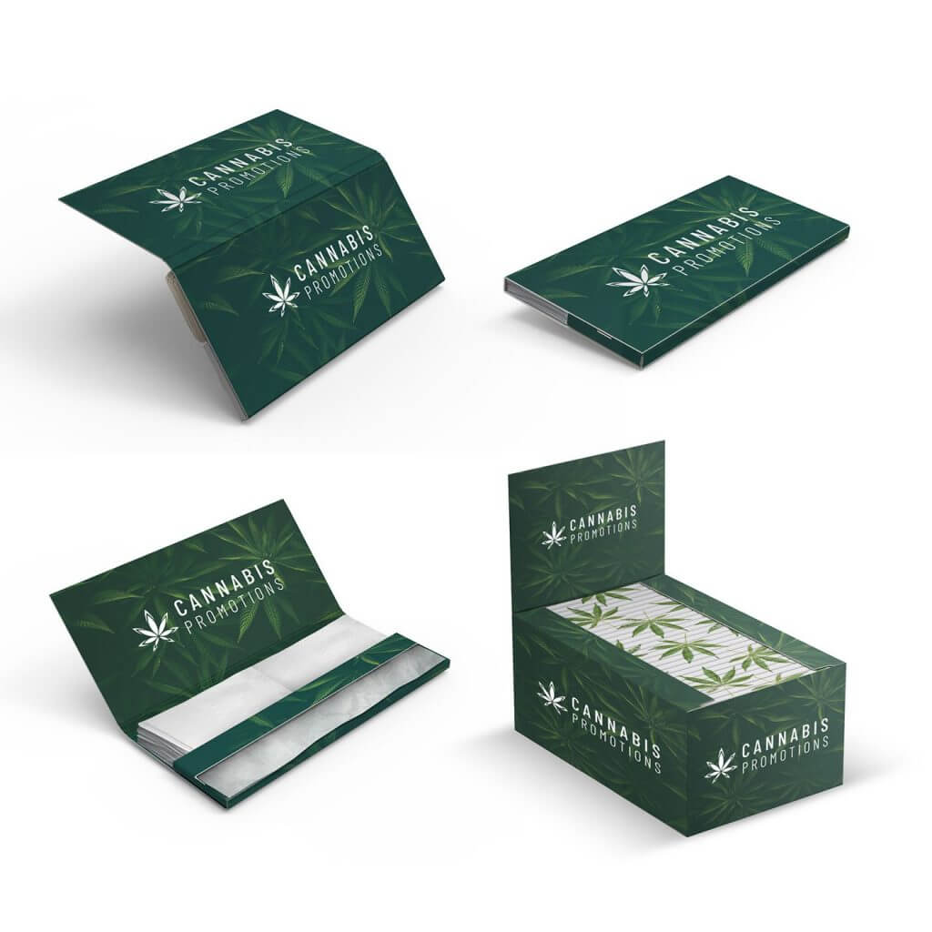 king size box and booklets with logo