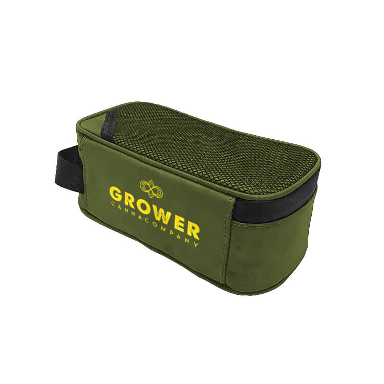 green stash carrying case with logo