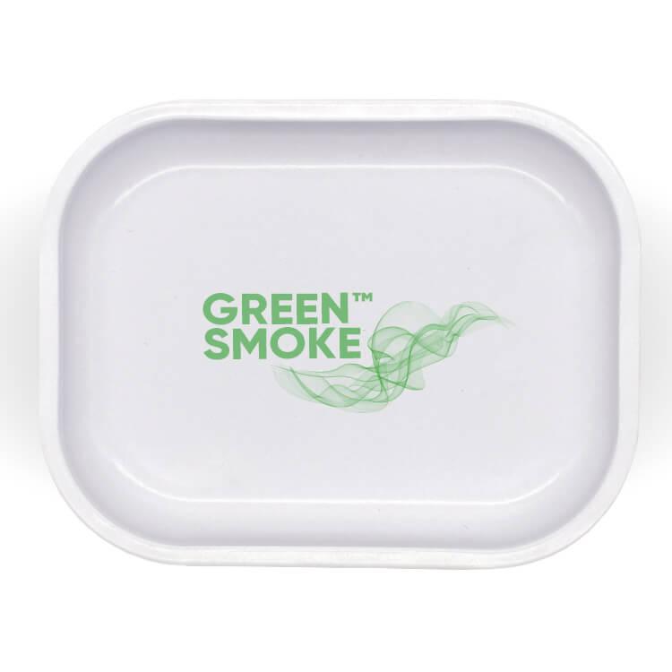 white small tin tray with logo