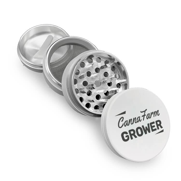 white aluminum 4 piece grinder logoed