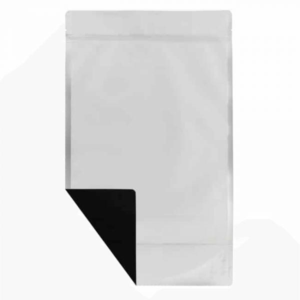 Black one pound weed mylar barrier bag white