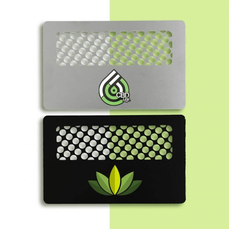 cannabis steel and black grinder cards with logo