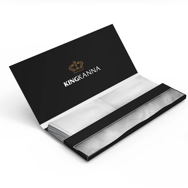 king size booklet of rolling papers with tips and logo