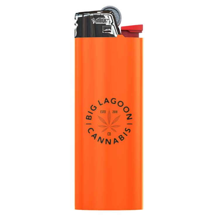 orange branded bic lighter with logo