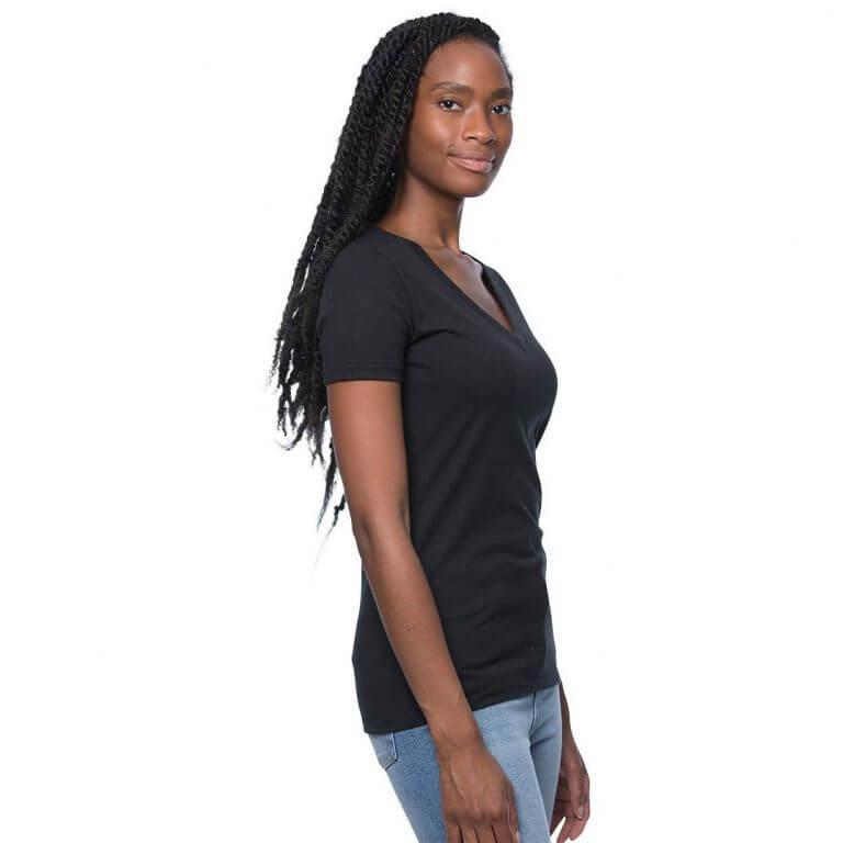 black hemp v-neck shirt