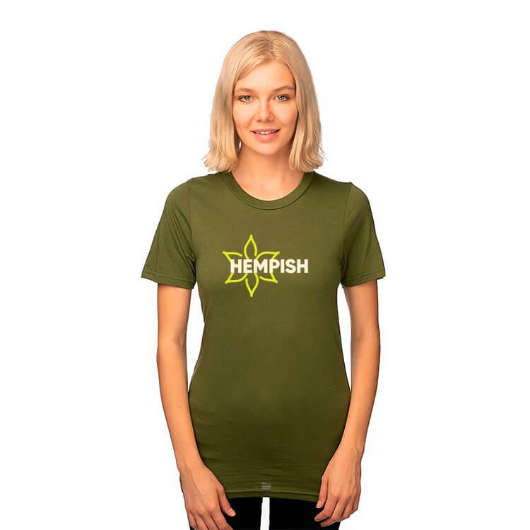 green cannabis shirt with logo