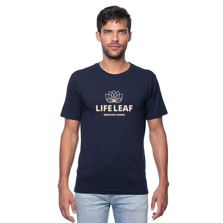 Custom blue short sleeve hemp shirt