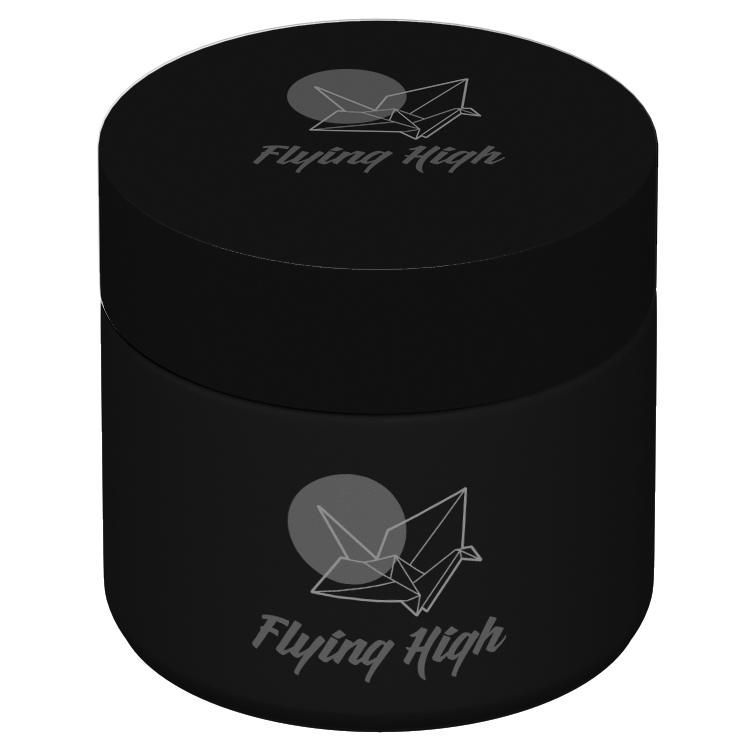 matte black 2 oz jar with logo