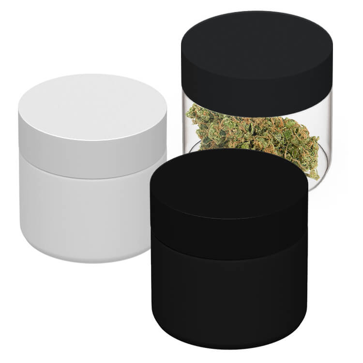 matte white, matte black and clear weed jars