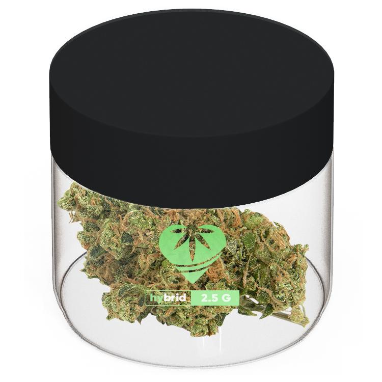 transparent marijuana 2 oz jar with logo