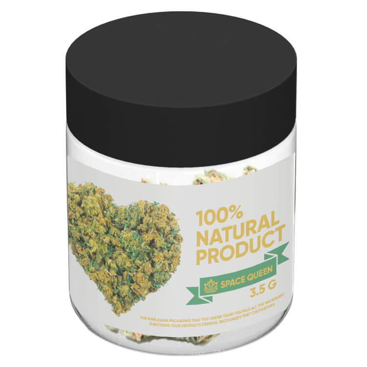 custom 3 oz marijuana jar with a custom wrap