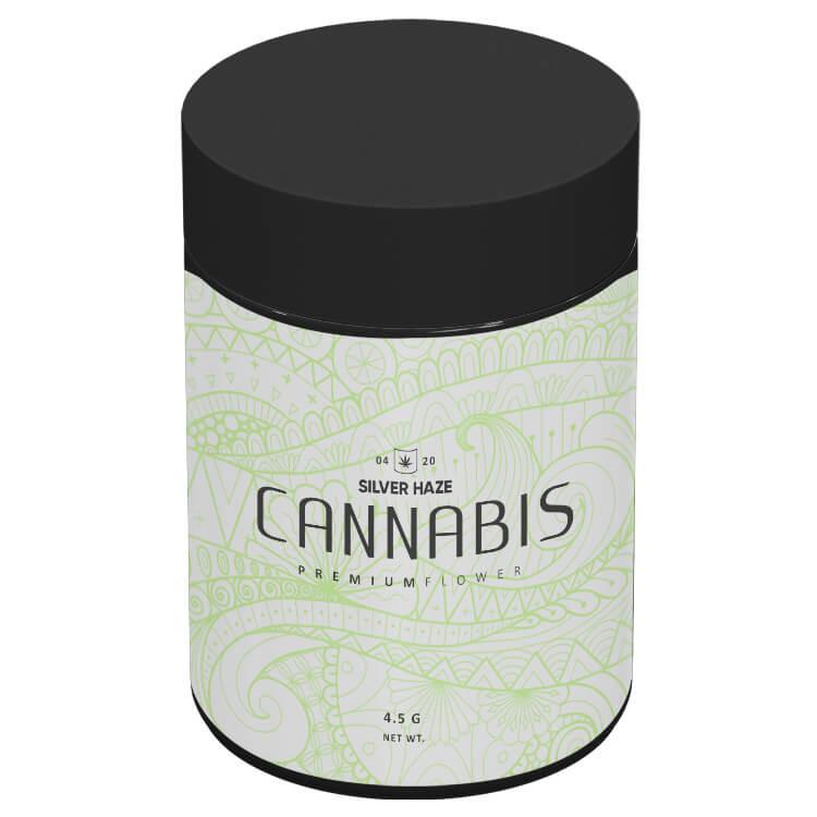 4 oz black cannabis jar with a label in bulk
