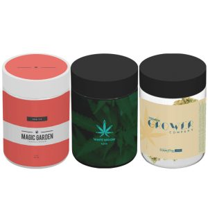 Custom 4 oz glass cannabis jars with label