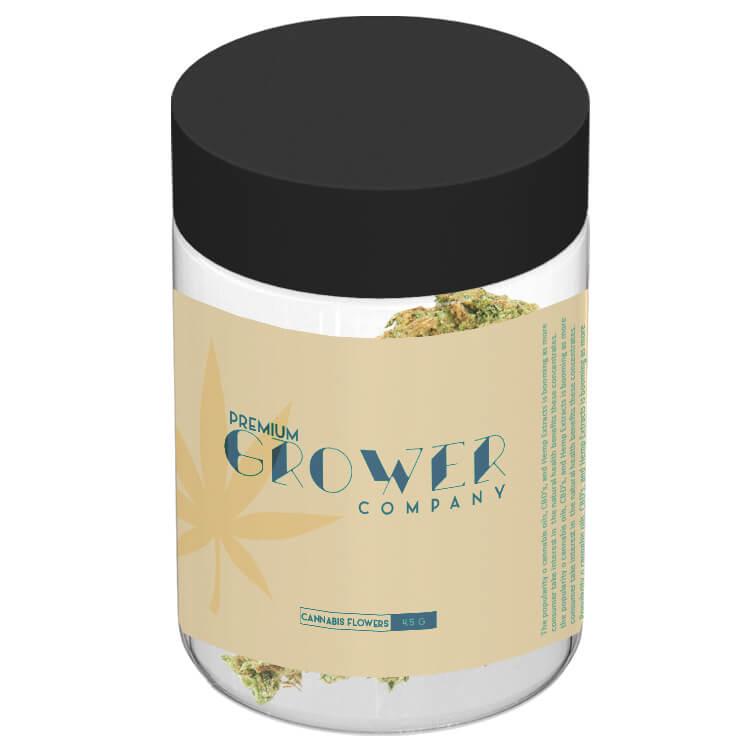 clear marijuana glass jar 4 oz with sticker